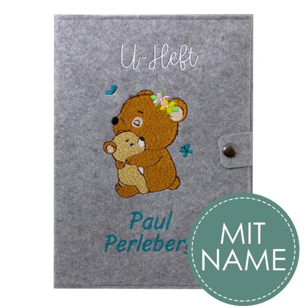 Filz U-Heft Hülle Waldbären MIT NAME