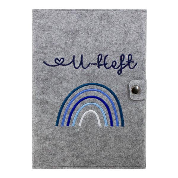 Filz U-Heft Hülle Regenbogen Blau