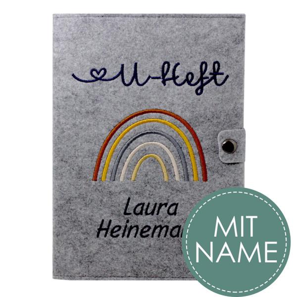 Filz U-Heft Hülle Regenbogen Natural MIT NAME