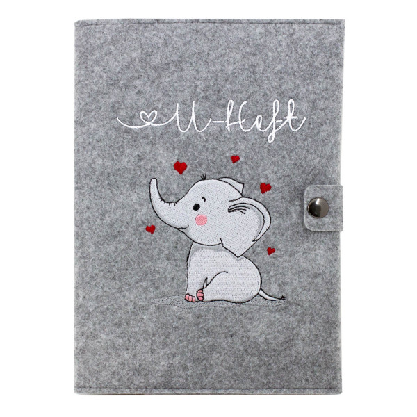 Filz U-Heft Hülle Elefant