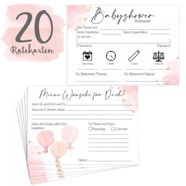 20 Babyratekarten Rosa