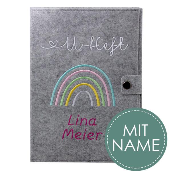 Filz U-Heft Hülle Regenbogen Pastell MIT NAME