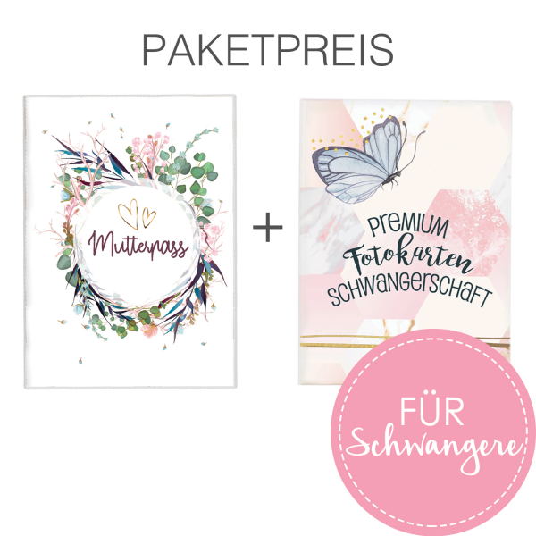 Set Schwangerschaft: Mutterpass + Fotokarten