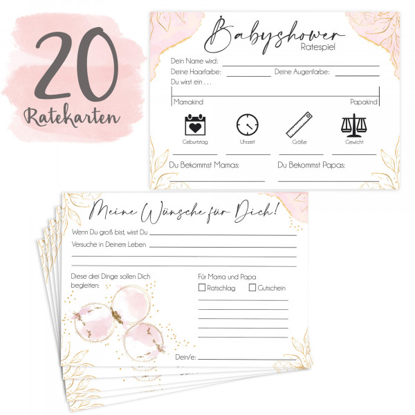 20 Babyratekarten Glamour