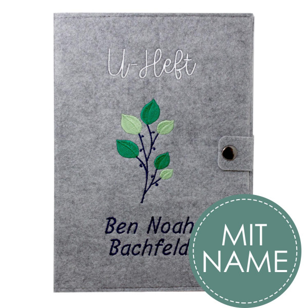 Filz U-Heft Hülle Green Flower MIT NAME
