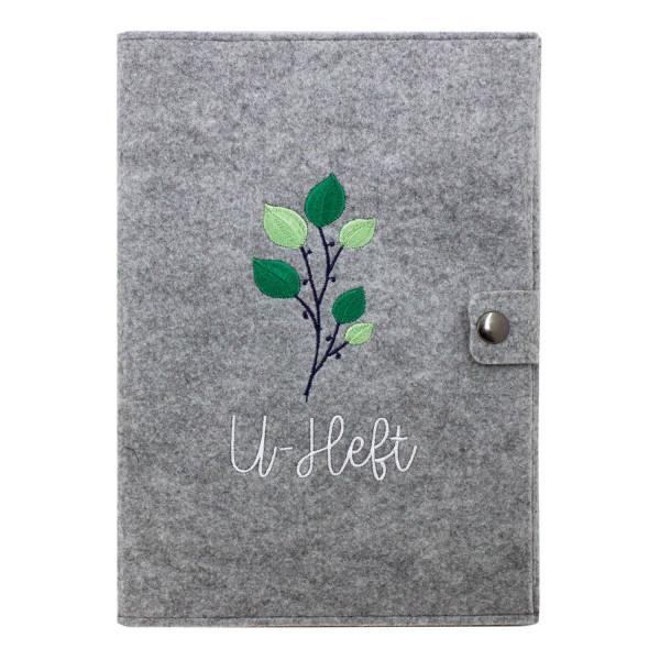 Filz U-Heft Hülle Green Flower