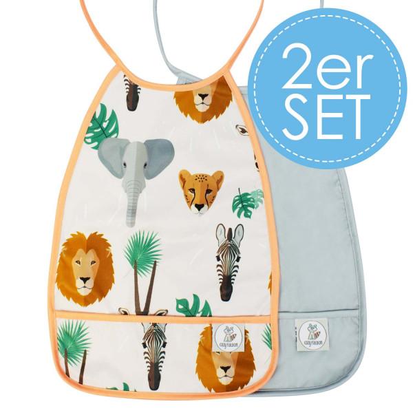 Lätzchen Safari + Grau