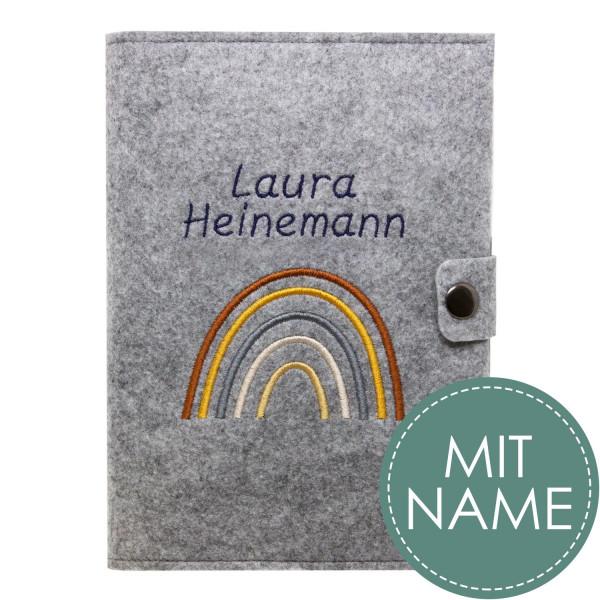 Filz Mutterpasshülle Regenbogen Natural MIT NAME