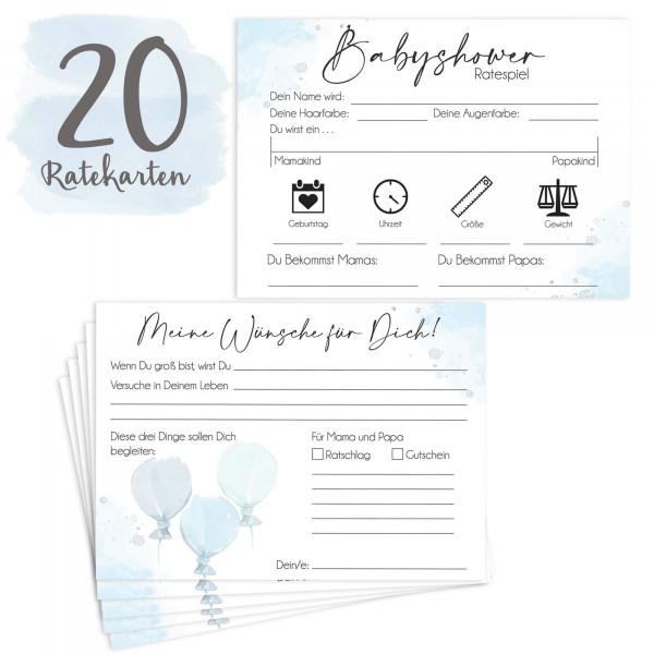20 Babyratekarten Blau