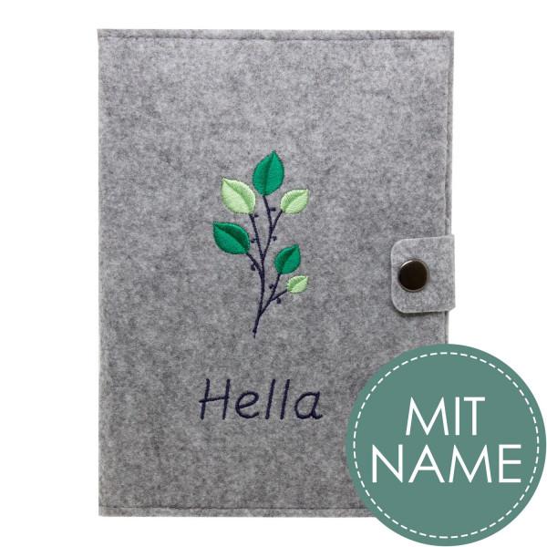 Filz Mutterpasshülle Green Flower MIT NAME