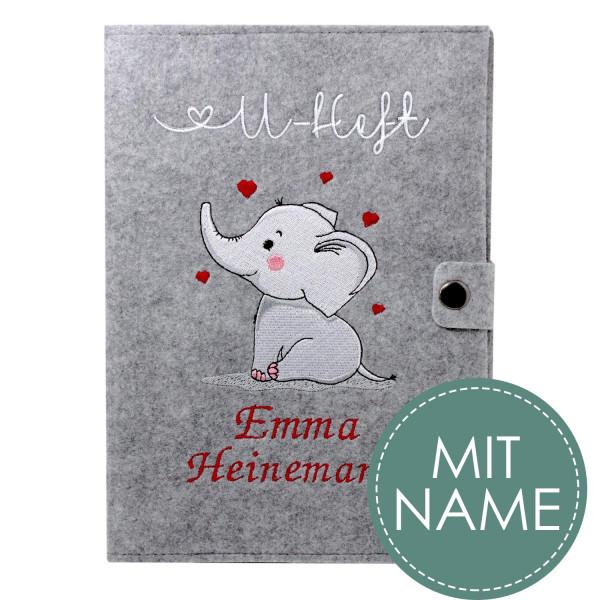 Filz U-Heft Hülle Elefant MIT NAME