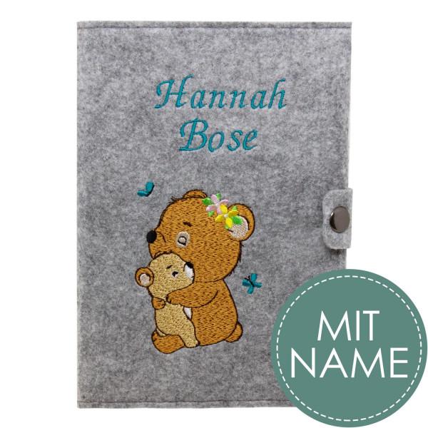 Filz Mutterpasshülle Waldbären MIT NAME