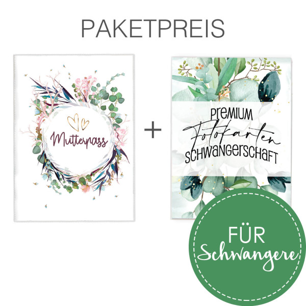 Set Schwangerschaft: Mutterpass Flower Party + Fotokarten Eukalyptus