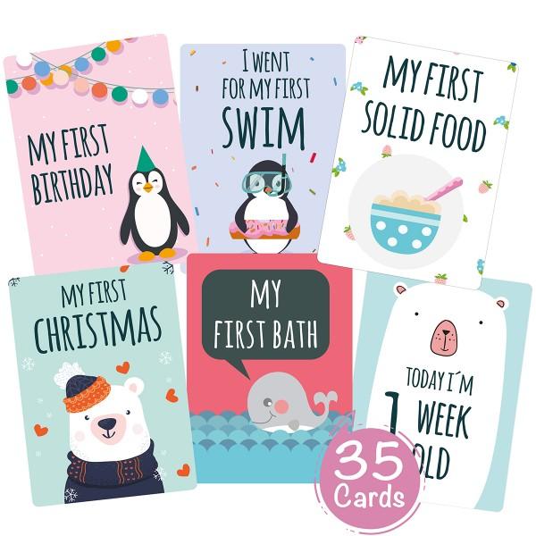 Baby Meilensteinkarten (Englisch)