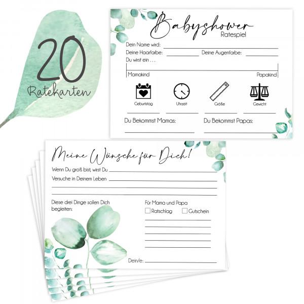 20 Babyratekarten Eukalyptus