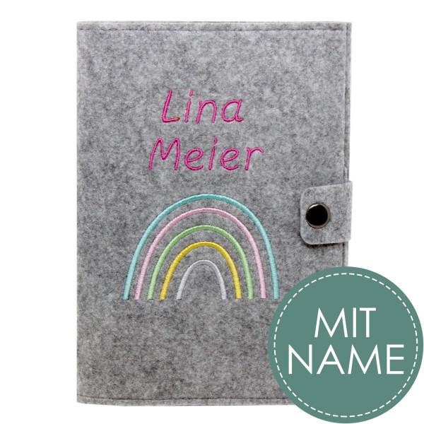 Filz Mutterpasshülle Regenbogen Pastell MIT NAME